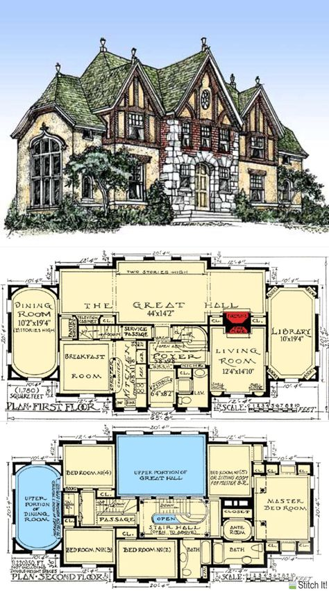 Ich möchte dieses Haus in Die Sims machen! – – I want to make this house in The Sims! Tudor House, Victorian House Plans, Vintage House Plans, Victorian Homes, Country House Plans, Sims House Plans, House Floor Plans, Castle House Plans, Mansion Floor Plans