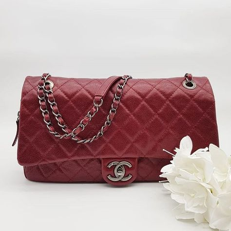 8f11b779b188 Preloved Chanel Jumbo Easy Flap Red Shiny Caviar Ruthenium Hardware Serial  code starting
