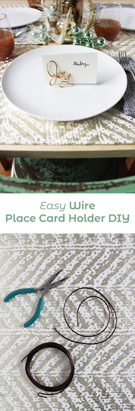 Easy Wire Place Card Holder DIY #placecardholder #placecard #tabletop #diningtable #tabledecor #tablescape #dinnerparty #abeatifulmess