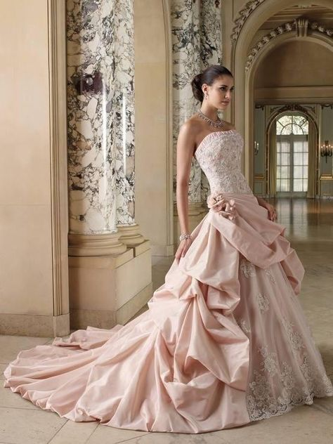 Are you considering a colored wedding gown for your big day? How about a blush pink wedding gown? Wedding Dresses Photos, Colored Wedding Dresses, Prom Dresses, Dress Wedding, Lace Wedding, Dresses 2016, Quinceanera Dresses, Bridesmaid Dresses, Luxury Wedding