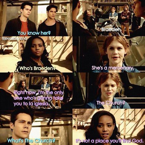 "S4 Ep1 ""The Dark Moon"" - Malia, Kira, Lydia, Stiles, Scott and Braeden"