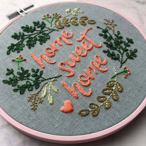 Home Sweet Home Hand Embroidery PDF Pattern. Stitching Guide. DIY Hoop Art. Modern Embroidery. Floral Botanical