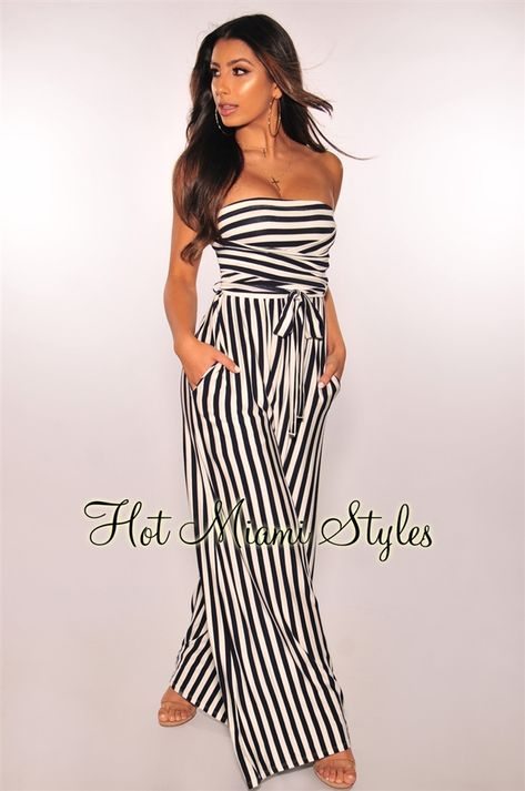 dda7d83ced10 Navy White Striped Strapless Belted Palazzo Jumpsuit en 2019   Monos ...