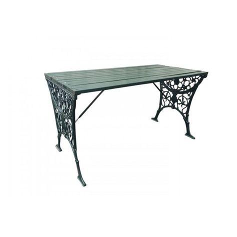 Generique Table Bois Massif Et Pieds Fer Forge Vert Tables A