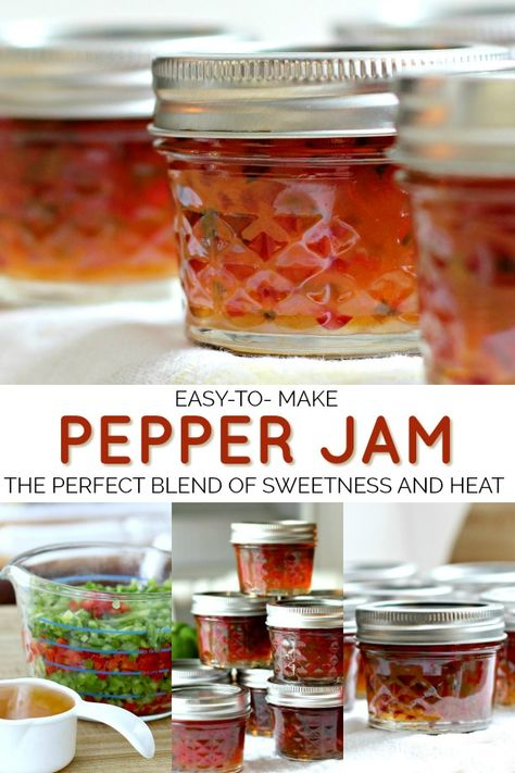 Pepper jam is an easy recipe for a lovely colored, condiment or food gift. Perfect balance of sweet and heat used as an appetizer with cheese and crackers. Jalapeno Jelly Recipes, Pepper Jelly Recipes, Hot Pepper Jelly, Jalapeno Pepper Jelly, Jalapeno Jam, Homemade Food Gifts, Homemade Jam Recipes, Homemade Jelly, Canning Recipes