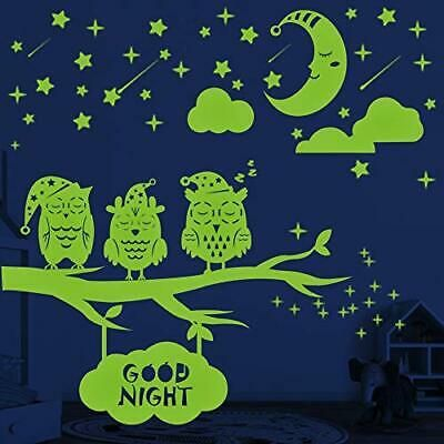 Glow In The Dark Stars Moon Owls Wall Stickers 356 Pcs Glowing Stars For Fashion Home Garden Homedcor Decalsstick In 2020 Kids Wall Decals Owl Wall Wall Stickers