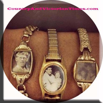 Use old watches that don't work as photo holders. Would be a nice way to remember lost loved ones because you could wear them with you.