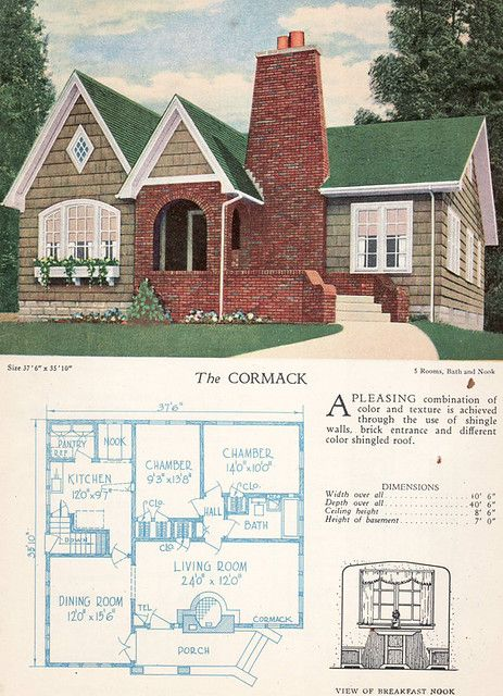 1928 Home Builders Catalog The Cormack Home Design Floor Plans Vintage House Plans House Exterior