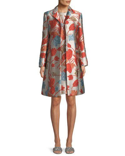 7NT0 Etro Cloqué Coat w Frog Closure Cloqué Sleeveless Flip