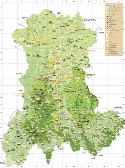 carte de l auvergne détaillée Carte de l'Auvergne touristique, carte de l'Auvergne détaillée