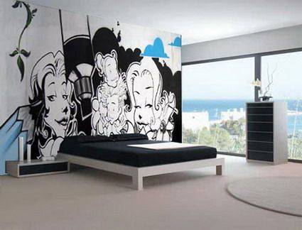 Bedroom Paint Ideas Black And White abstract black and white graffiti in cool bedroom wall stickers