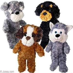 20 Plush Curly Dogs With Button Eyes Embroidered Smiles And