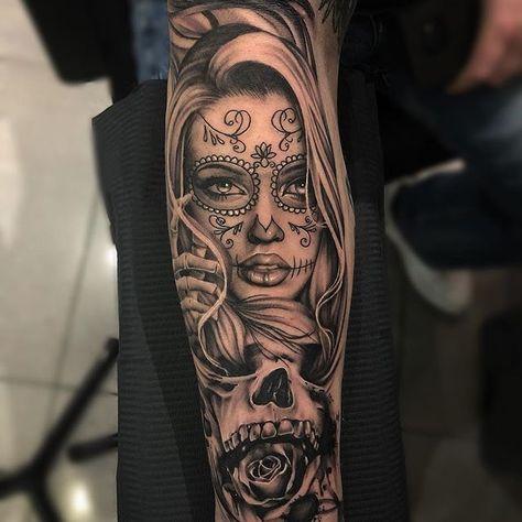 Skull Candy Tattoo, Sugar Skull Girl Tattoo, Skull Sleeve Tattoos, Girl Face Tattoo, Forearm Sleeve Tattoos, Girls With Sleeve Tattoos, Best Sleeve Tattoos, Tattoo Girls, Girl Tattoos