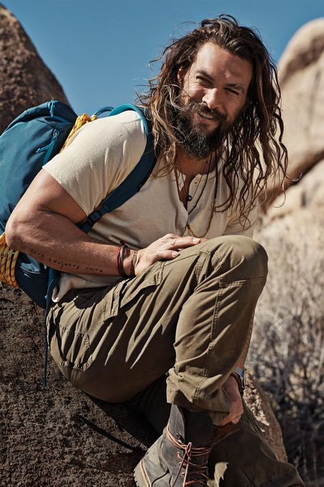 GQ makes a case for outdoors living with a new fashion spread. The American magazine links up with actor Jason Momoa. Photographer Steven Pan captures the Aquaman star in camping gear and designer fashions. Jason Momoa Aquaman, Aquaman Actor, Bart Design, La Mode Masculine, My Sun And Stars, Khal Drogo, Hollywood, Raining Men, Long Curly Hair