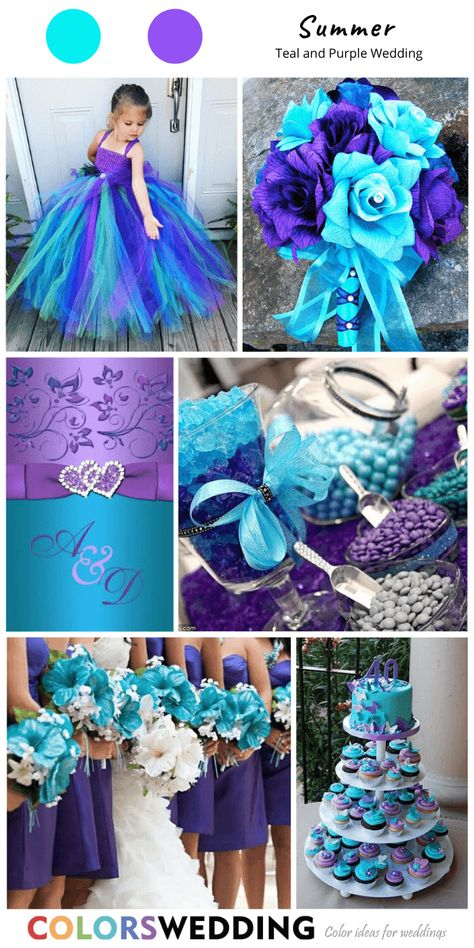 Best 8 Teal and Purple Wedding Color Ideas Teal Dress For Wedding, Purple Summer Wedding, Purple Bridesmaid Dresses, Spring Wedding, Purple Wedding Decorations, Peacock Wedding Colors, Aisle Decorations, Teal Bouquet, Cute Wedding Ideas