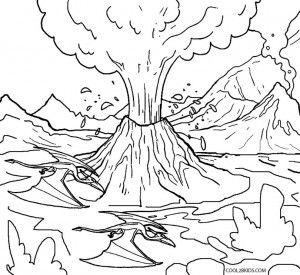 V Is For Volcano Coloring Pages Coloring Pages Dinosaur Coloring Sheets Volcano Drawing