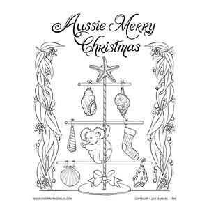 Christmas Coloring Page For My Australian Friends I Hope You Like My Take On An Aussie Christmas Koal Christmas Coloring Pages Aussie Christmas Coloring Pages