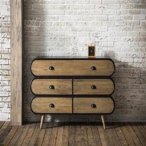 Buffet Au Style Industriel Klaus En Chene Vintage Mobilier De Salon Style Industriel Commode Industrielle