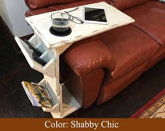 Couch Table Rustic With Remote Control Holder Tablet Magazine Rack And Cup
