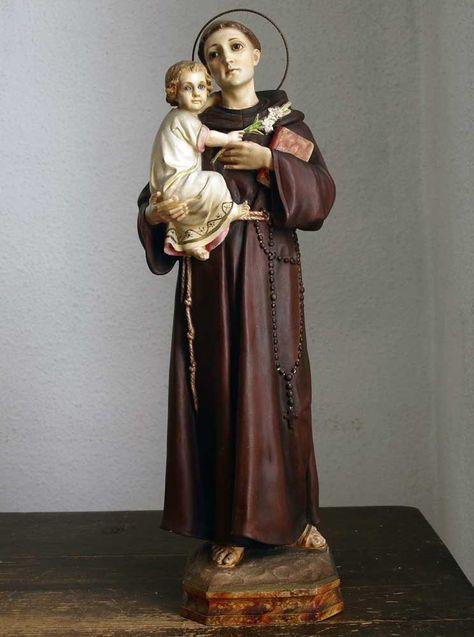 Etsy のThe Infant Jesus Blue eyes with Saint Anthony of Padua Statue San António de Lisboa Spain Religious Art Antique/962(ショップ名:GliciniaANTIQUE)