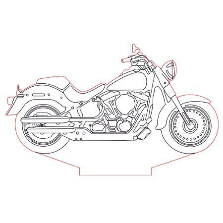 Harley Davidson Bike 3d Illusion Lamp Plan Vector File For Laser And Cnc 3bee Studio 3d Illusion Lamp 3d Illusions Illusions