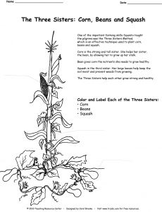 Teachers, here is a free the three sisters corn, beans and squash Washington Coloring Page Mother Coloring Page Three Sisters Playing Coloring Page