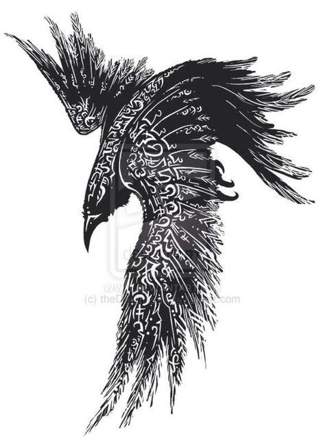 Raven, Crow, et Corbacs  46d2fdb15dfddaeb29bfd9542d9def09--odins-raven-tattoo-viking-crow-tattoo
