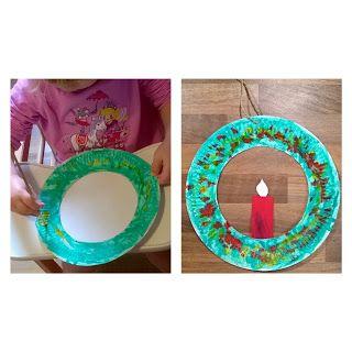Pappteller Kranz Weihnachten Winter Kleinkinder U3