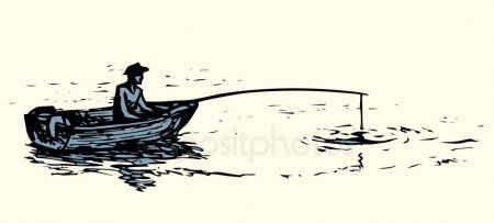 The Man In The Boat Is Fishing Vector Drawing Stock Vector Affiliate Fishing Boat Man Stock Ad Fish Drawings Boat Drawing Simple Boat Drawing