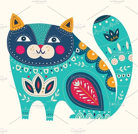 Illustration with cat and flowers by MoleskoStudio on @creativemarket