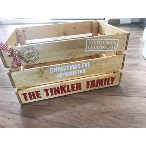 Christmas Crate Box.Large Wooden Personalised Christmas Eve Crate Christmas Eve
