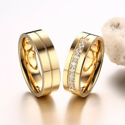 6mm Aaa Cz Couple Rings Titanium Steel Wedding Lover S 18k Gold Plated Size 6 11 Ebay Gold Plated Wedding Band Couple Wedding Rings Wedding Ring Bands