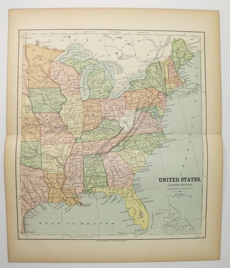 Eastern United States Map 1881 Antique Map of East Coast US ...