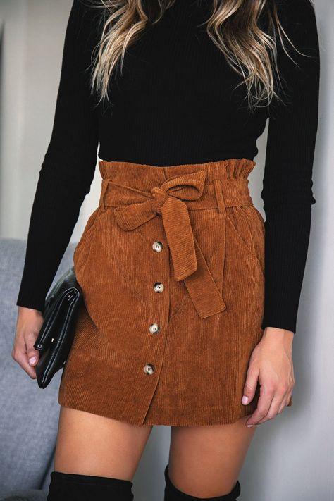 No Loose Ends Tan Corduroy Skirt