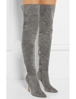 100% di alta qualità arrivato top design stivali grigi alti