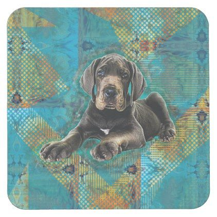 Great Dane Puppy Square Paper Coaster Zazzle Com Great Dane