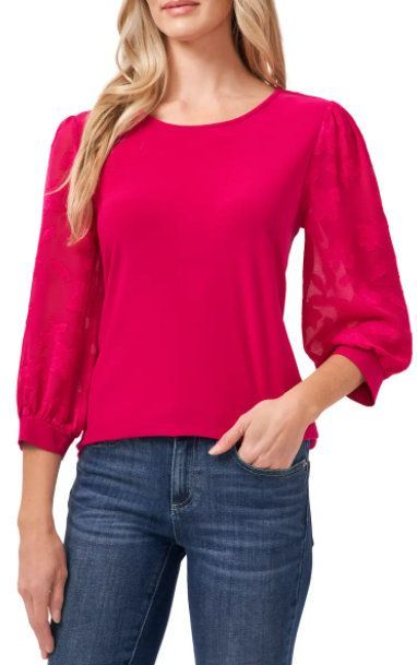 Lace Sleeve Stretch Crepe Blouse (ad)