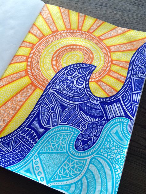 the sun and the sea sold by creative chaos. Shop more products from creative chaos on Storenvy, the home of independent small businesses all over the world. Doodle Art Drawing, Cool Art Drawings, Mandala Drawing, Colorful Drawings, Mandala Art Lesson, Mandala Artwork, Small Canvas Art, Diy Canvas Art, Dibujos Zentangle Art