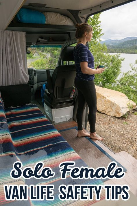 Preparing for a solo road trip? Be confident & prevent yourself from getting into a vulnerable situation with these solo female van life safety tips. Informations About Solo Female Van Life Safety Tips Pin You … Suv Camping, Family Camping, Camping Hacks, Camping Ideas, Camping Checklist, Camping Essentials, Women Camping, Camping Trailers, Stealth Camping