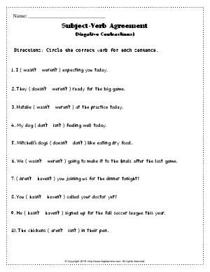 Worksheet Subject Verb Agreement Negative Contractions