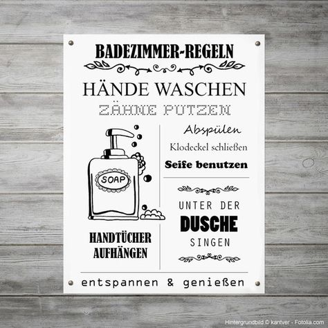 Regeln Furs Badezimmer Als Witzige Wanddeko Illustration Zum Selbstdrucken Printable With Rules For The Funny Home Decor Funny Wall Decor Diy Bathroom Paint