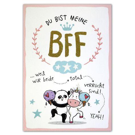 """Hope & Gloria Postkarte »BFF« """"Du bist meine BFF ...weil wir beide --> total --> verrückt sind! --> YEAH!"""""""