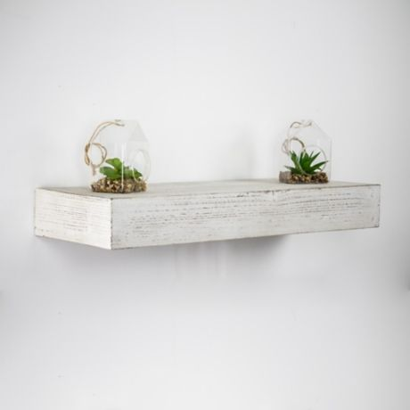 Whitewashed Wood Floating Shelf 24 In Kirklands Wood Floating Shelves White Wood Shelves Floating Shelves