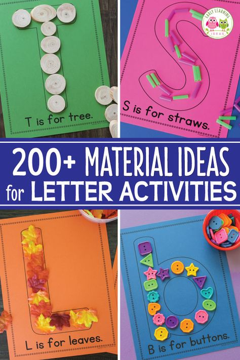 Use letter activities like letter collages or letter mats to teach letter identification and reinforce letter-sound associations. Here are over 200 material ideas that you can use for your collages or letter mats. A printable reference list is included. Alphabet Activities Kindergarten, Toddler Learning Activities, Preschool Learning Activities, Preschool Letters, Learning Letters, Preschool Lessons, Classroom Activities, Kids Learning, Preschool Writing