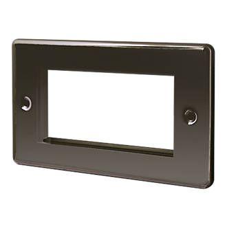 Lap 2 Gang Front Plate With 4 Module Aperture Earth Black Nickel Aperture Black Nickel
