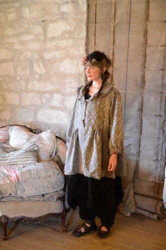 MaGNoLia-PeaRL-Redingote-Authentiq-Soie-Coton-satin-vert-gris-OAK-summer-Coat