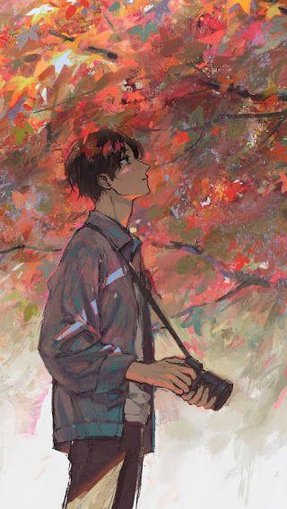 Anime Photographer Maple Trees Autumn 7680x4320 Wallpaper Anime Artwork Wallpaper Anime Backgrounds Wallpapers Anime Scenery Wallpaper