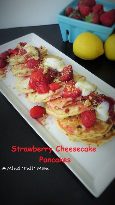 Strawberry Cheesecake Pancakes: A creative twist on pancakes where the flavors of a traditional strawberry cheesecake are brought to life in pancake form.