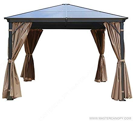 Amazon Com Mastercanopy 10x10 Hardtop Gazebo Rustproof Aluminum Permannet Gazebo With Mosquito Netting And Privacy Curtain Hardtop Gazebo Gazebo Patio Gazebo