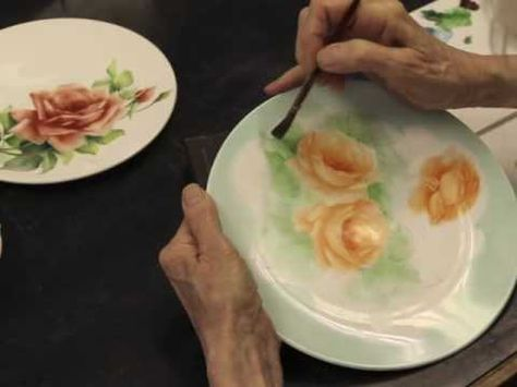 Porcelain Painting Roses part 2 - YouTube